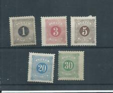 Sweden stamps. A few of the 1874 Postage Dues MH (H510)