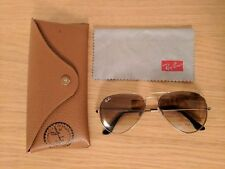 Authentic Ray-Ban Womens Aviator Sunglasses - Gold Frames with Brown Ombre Lens