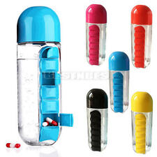 7 Daily Pill Box Water Bottle Cups Case Capsule Organizer Outdoor Use 600ml 1X