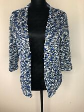 Alfred Dunner Small Petite Open Cardigan Blue Black Women's 3/4 Sleeve Knit