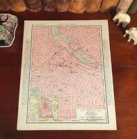 Original 1898 Antique Map MINNEAPOLIS Minnesota MN Streets Historic Landmarks