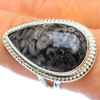 Large Crinoid Fossil 925 Sterling Silver Ring Size 9 Ana Co Jewelry R37272F