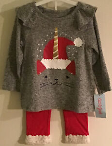 NEW Cat & Jack Unicorn Cat Christmas Outfit Set Toddler Girl 18M, 2T, 3T, 4T, 5T