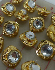 "24 Czech gold square metal shank buttons rhinestone center 5/8"" 16mm 149g"
