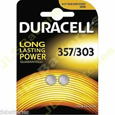 2 x Duracell 357 Watch Batteries SR44W SR44 V303 303 V357 D357 Silver Oxide