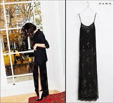 ZARA BLACK EMBROIDERED BEADED SEQUIN MAXI LONG DRESS