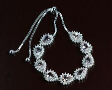 925 Sterling Silver 7x5 mm Pear Cut Natural Morganite Gemstone Jewelry Bracelet