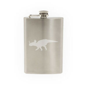 Dinosaur Silhouette #12 - Triceratops Horned Skull Dino-8 oz etched flask
