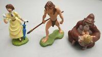 3x Bully Tarzan Figur - Tarzan + Jane + Gorilla Kala - handpainted / Bullyland