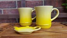 Le Creuset Stoneware 14oz Tea/Coffee Mug Set of Two, Tea Bag Holder Soleil NEW