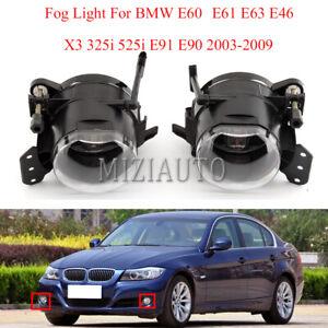 Pair Front Fog Light Lamp For BMW E60 E61 E63 E46 X3 325i 525i E91 E90 2003-2009