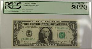 Fr. 1901-E 1963A $1 Federal Reserve Note FRN Low Serial #E00000003C PCGS 58PPQ
