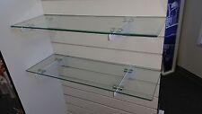 "8"" x 24"" Rectangular 1/4"" Clear Tempered Glass Shelf w/Slat Wall Brackets 2pack"