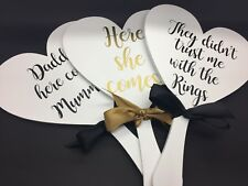 Hand held personalised wedding Sign, paddle, daddy here comes mummy, flower girl