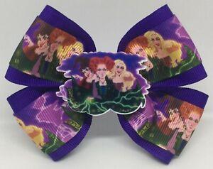 "Girls Hair Bow 4"" Wide Hocus Pocus Sanderson Sisters Barrette, Clip or Ponytail"
