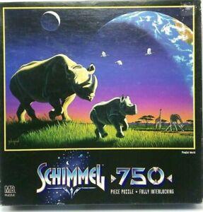 "1997 Schimmel MB ""Playful World"" Rhinos Jigsaw Puzzle 750 Pcs 18x24 by Hasbro"