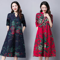Retro Womens Ethnic Cotton Linen A-line Plus Floral Tunic Boho Shirt Midi Dress
