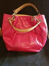 Maurizio Taiuti Crinkle Patent Leather Pink Small Handbag Tote. Nwt