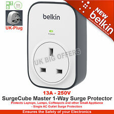 Belkin SurgeCube Master 1-Way Surge Protector BSV102af Brand New UK Plug