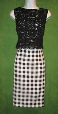 Ellen Tracy Black White Buffalo Check Lace Work Social Cocktail Dress 6 $128