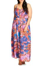 ☆CITY CHIC plus size L (20) SWEET ELASTICATED PANEL MAXI DRESS RRP