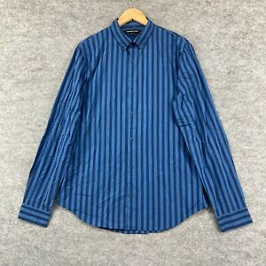 Country Road Mens Button Up Shirt Size L Large Slim Blue Long Sleeve 322.07