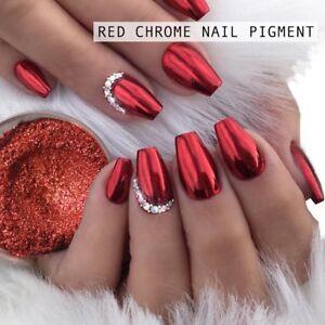 Red Mirror Powder Chrome Platinum Pigment Nail Art Glitter Christmas Mermaid Gel