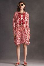 OSCAR DE LA RENTA 2016 cotton silk caftan tunic dress beaded embellished NEW