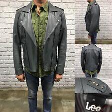 LEE Men's Leather Jacket Dark Grey Biker Style