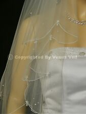 2T White Bridal Fingertip Scattered Pearls Scalloped Pencil Edge Wedding Veil