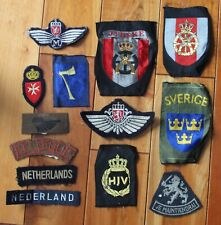 Vintage uniform patches collection Nederland Sweden Belgium lot of 13
