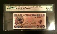 Guinea 100 Francs Banknote World Paper Money UNC PMG EPQ 66 Gem - L1