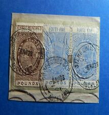 1882 NEW ZEALAND STAMP DUTY REVENUES BAREFOOT#2x275, 282 + USED ON PIECE CS33002