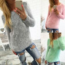 manga larga Mujer Suéter De Punto Cálido invierno Jersey Pulóver Camisa Blusa