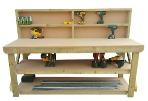 Work Bench MDF Top Wooden Industrial Garage Heavy Duty Table - Suitable For Vice