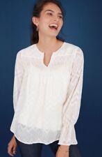 NWT STELLA & DOT Maette Lyla White Gold Sheer Blouse Top Shirt M Fits Like L