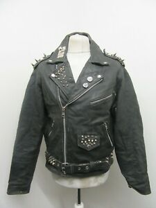 VINTAGE 80s STUDDED PUNK ROCK DISTRESSED LEATHER BRANDO MOTORCYCLE JACKET SIZE M
