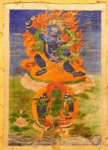 ANTIQUE GENUINE 18th - 19th  HAND PAINTED THANGKA ANTIQUE AND GENUINE!