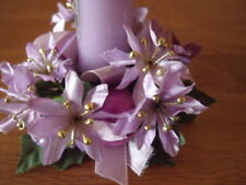 Weihnachtsdeko, Kerzenkranz mit Spitzkerze lila