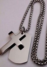 Men's Personalised Engraved Silver Tag Cross Pendant Box Chain, Memorial Gift