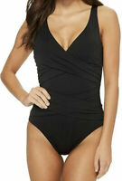 Tommy Bahama Womens Swimwear Black Size 6 Surplice Ruched One-Piece $140 901