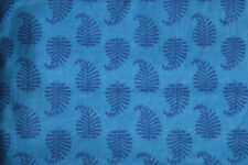 2.5 Yard Indian Blue Hand Made Cotton Print Dressmaking Sewing Craft Fabric