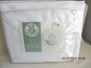 New! Home Collection Twin Size Sheets - 4 Piece 1800 Series Ultra Soft White