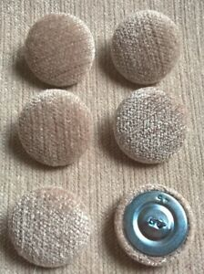 Chenille Crush 45L/28mm Stone Upholstery Fabric Covered Buttons (Beige)