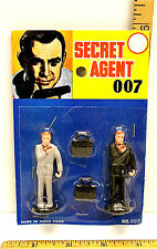 """Secret Agent 007 Two Agents 2 1/4"""" Tall Made in Hong Kong New On Card No. 007"""