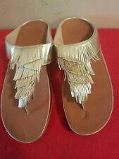 Fitflop Womens Cha Cha Fringe Toe Thong Metallic Gold Sandal Shoes Size 6