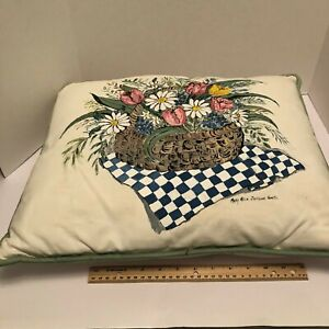 Vintage Hand painted Throw Pillow case zip signed Mary Alice Jackson Smith  EUC