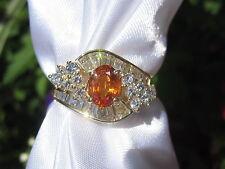 18K Sapphire Diamond Ring Yellow Gold Orange Ballerina Estate Fine Jewelry $3700