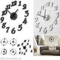 Reloj de pared 3D adhesivo digital GRANDE blanco negro ULTRAMODERNO DIY lujoso