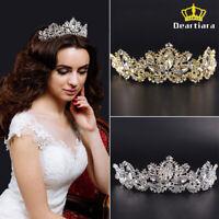 Crystal Leaf Flower Tiara Queen Princess Diadem Prom Wedding